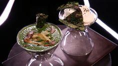 - Velouté d'épinards et blettes- Crêpes d'épinards- Chantilly au hareng. chef daguin France 2, Le Chef, Pudding, Desserts, Food, Recipes, Deserts, Custard Pudding, Dessert
