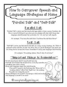 """Practically Speeching: FREE Parent Handout for """"Self-Talk"""" and """"Parallel Talk""""! Pinned by SOS Inc. Resources. Follow all our boards at pinterest.com/sostherapy/ for therapy resources."""