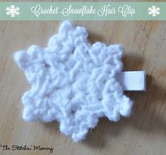 Crochet Snowflake Hair Clip - Free Pattern - The Stitchin' Mommy