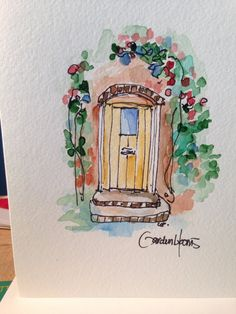 Charming Doorway Watercolor Card by gardenblooms on Etsy, $4.00