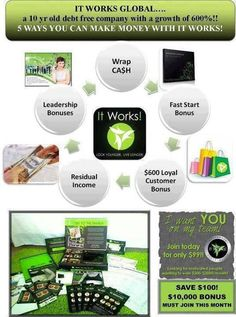 Five ways to Earn with It Works!!     Contact me to learn more about this great opportunity to work from home.    https://jenniferbranton.myitworks.com/replicatedopportunity
