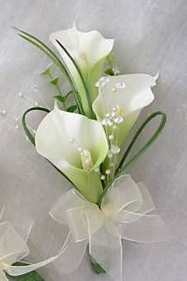 Wee calla lily corsage. Can also be made smaller with no bow for a boutonniere.