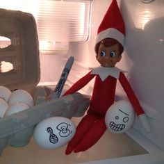 The Elf on the shelf~Elf is getting ready for Easter. Elf On The Shelf, Shelf Elf, Shelf Inspiration, Elf Magic, Naughty Elf, Holiday Fun, Holiday Decor, Crafts For Kids, Diy Crafts