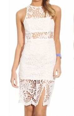 White See-through Back Hollow-out Sleeveless Lace Dress