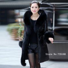 新しい本物のシープスキン2013ファッション冬の女性の革のジャケットは巨大な白いアヒルキツネの毛皮のフード付きダウンコート