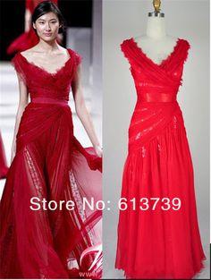 2013 new arrival Hot Sale! Red Long v-neck Formal Sweet Heart Elie Saab A -Line prom Evening Celebrity Dresses $135.99