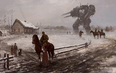 1920 - farewell, Jakub Rozalski on ArtStation at https://www.artstation.com/artwork/1920-farewell