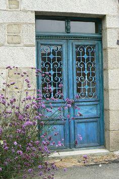 Blue door France - love the iron work too Door Entryway, Entry Doors, Front Entry, Stairs And Doors, Windows And Doors, Turquoise Door, Cool Doors, Front Door Colors, Antique Doors