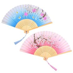 LABOTA 2 Pieces Silk Folding Fans Handheld Fans Hollowed Bamboo Fans for Home Decoration, Gifts, Wedding, Party; Hand Held Fan, Hand Fan, Cherry Blossom Theme, Antique Fans, Cosplay Weapons, Blue Cherry, Kimono Design, Paper Fans, Japanese Outfits