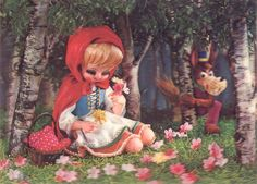 Little Red Riding Hood lenticular postcard