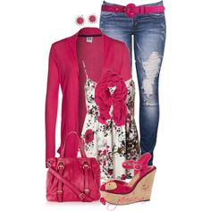 Ripped Jeans & Hot Pink