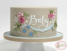 Rustic Ribbons and Flora Baby Shower Cake