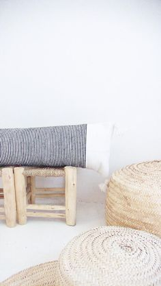 Moroccan POM POM Cotton Pillow Cover  Long in Black Stripes