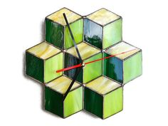 Modern wall clock with geometric design 3d cubes green, lime and yellow - Unique Home wall decor made of stained glass art