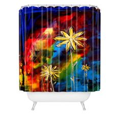 Madart Inc.© Visual Feast Shower Curtain | DENY Designs Home Accessories #showercurtain #flowers #colorful #homedecor