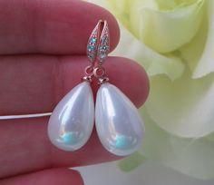 Rose Gold Teardrop Pearls Bridal Earrings Rose gold, Bridesmaids Gift, Pear drop Earrings, Pink Wedding Earrings, Free US