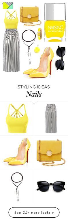 """""""Colourful day"""" by the-pink-poppy on Polyvore featuring LE3NO, Karen Millen, Christian Louboutin, Vanessa Mooney, Marc Jacobs, Nails Inc., Fendi, Casetify and Dolce&Gabbana"""