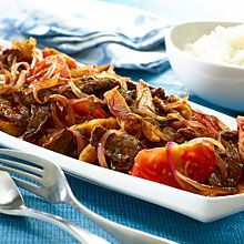 Lomo Saltado is a traditional Peruvian dish of stir-fried beef and fried potatoes, served with rice. The beef gets a boost of sweet-and-sour flavor from a vinegar-brown sugar-soy sauce marinade, spiked with GOYA® Yellow Hot Pepper Paste –Ají Amarillo.