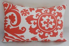 One Coral & White Suzani Lumbar Pillow  WITH Insert Pillow Form 12x18. $20.00, via Etsy.
