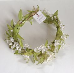 Olive Leaf Lily of the Valley Bridal Floral Crown,  Silk Flower Crown, Boho Crown, Woodland Crown, Ivory Lily of the Valley, Flower Wreath,