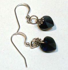 Purple Heart Swarovski Crystal Heart Earrings  by lindab142, $10.00