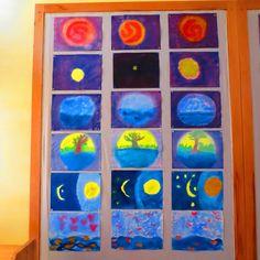 in the beginning god created. 3rd Grade Art, Grade 3, First Grade, Third Grade, Wet On Wet Painting, Days Of Creation, In The Beginning God, Class Teacher, Student Drawing