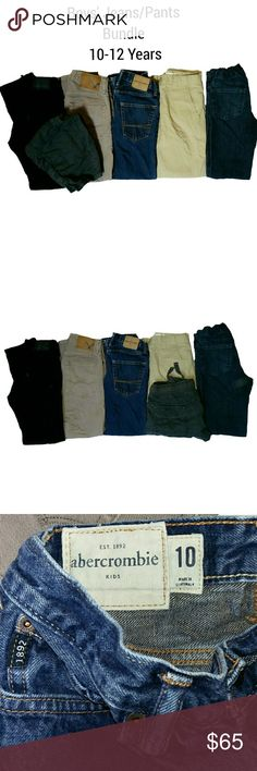 BUNDLE Boys' Jeans/Pants Abercrombie, Levi. 10-12Y Huge bundle of 5 jeans and pants plus a pair of shorts. Size 10-12 years. Includes Levi Strauss (black, 12), American Eagle Outfitters ((taupe, 26-28), Abercrombie (blue, 10), Old Navy ((khakis, 10), and Shawn White (blue jeans, 12). I will also include the Chino shorts (8-10)  All of the garments are in very good condition. Buy the bundle for a fraction of the retail price. Abercombie Kids Bottoms