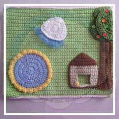 The Backyard VIEW INTRODUCTION AND LINK PAGE HERE! SKILL LEVEL: Easy to Intermediate : Basic stitches, simple shaping and finishing. Concentration required for neat finishing. MATERIALS: Yarns: -scraps ofdouble knitting/light worsted yarn in brown, blue, yellow, green, beige and cream/white (from 2 yards to 50 yards) – Blue Ribbon Strips – An assortment of buttons (optional) –I used 6 very small buttons for the tree and a Ball shaped button for the doghouse Hooks & Notions: -S...