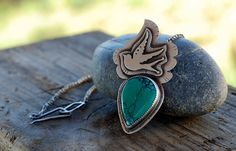 Turquoise Necklace. Sparrow Pendant. Bird Silhouette. Sterling and Turquoise. Flying Bird. Blue Stone teardrop. Large Statement. Tattoo Bird...
