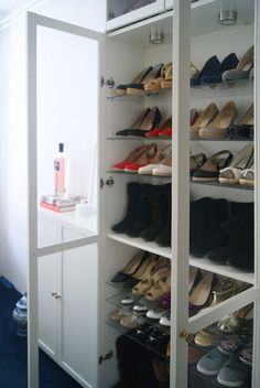 One of the beauties of IKEA products is that their simple design also makes them endlessly versatile. While IKEA makes quite a few products specifically designed to house your shoes, they also carry lots of other products, intended for other uses, that can be pressed into service as shoe storage with just a little ingenuity.