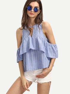 Cheap shirt sport, Buy Quality blouses and shirts directly from China blouse tshirt Suppliers: Sheinside Striped Cold Shoulder Ruffle Blue Blouses Women Top Summer Style Sexy 2016 New Ladies Shirt Casual Blouse Urban Chic, Pretty Outfits, Beautiful Outfits, All About Fashion, Minimalist Fashion, Dress To Impress, Plus Size Outfits, Blouses For Women, Ruffle Blouse