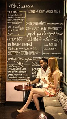 Brunch Board Menu as Wall Interior Decoration of Avenue Eat and Drink Restaurant, Tallahassee
