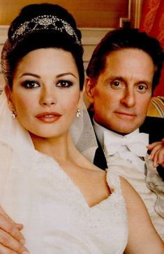 Catherine Zeta-Jones in a Fred Leighton hairband tiara for her 2000 nuptials to Michael Douglas