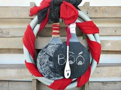 a fun halloween wreath made from a tube, crafts, halloween decorations, repurposing upcycling, seasonal holiday decor, wreaths