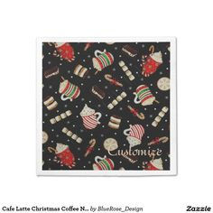 Shop Cafe Latte Christmas Coffee Red Ribbon Napkins created by BlueRose_Design. Christmas Napkins, Christmas Coffee, Raffle Prizes, Cocktail Napkins, Vinyl Lettering, Red Ribbon, Holiday Treats, Paper Plates, Party Printables