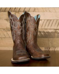 Amazon.com: Women's Ariat Rhinestone Leather Cowboy Boots: Shoes ...