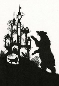 illustration, animal, bear, wolf, rabbit, fox, insect, bug, bee, castle, cut away, Shadows