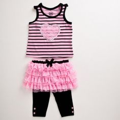 Toddler Stripe Tank Top with Heart Applique and Skegging Set - Young Hearts Toddler Sets - Events