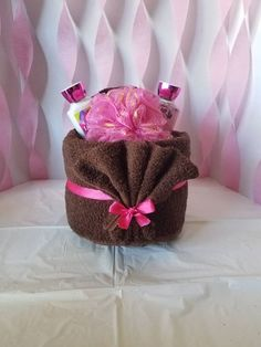 Items similar to Small Spa Towel Cake on Etsy Small spa towel cake Kitchen Towel Cakes, Towel Cakes Diy, Towel Crafts, Diy Crafts, Wedding Towel Cakes, Pamper Cake, Towel Origami, Mothers Day Baskets, Towel Animals