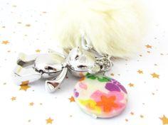 Teddy Bear Keychain, Bear Keychain, Pom Pom Keychain, Yellow Fur Keychain, Gift for Her, Gift Under 20