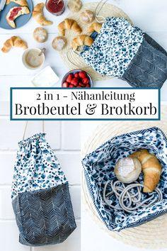 2 in 1 - Nähanleitung für einen Brotbeutel und Brotkorb. - 2 in 1 – Nähanleitung für einen Brotbeutel und Brotkorb. 2 in Brotbeutel & Brotkorb -> Brotbeutelkorb Sewing Hacks, Sewing Tutorials, Sewing Crafts, Sewing Patterns, Sewing Tips, Stitch Crochet, Bread Bags, Diy Couture, Diy Canvas Art