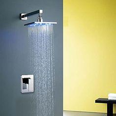 Modern Muurbevestigd LED Inclusief handdouche with Keramische ventiel Single Handle Een Hole for Chroom Douche Badrandkranen
