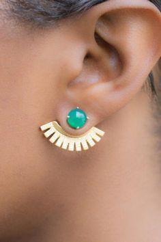 Fan Shaped Gold Metal Earrings