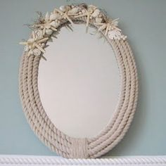 Nautical Rope Mirror @ sea side style - definitely try to find the thicker, white nautical rope
