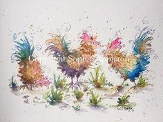 Chickens watercolour painting www.sixfootsophie.co.uk Artist Sophie Appleton