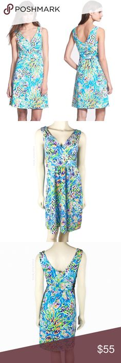 L i l l y P u l i t z e r • D r e s s • Sz L Lilly Pulitzer® 'Shianne' Print Jersey Fit & Flare Dress Sz L  Excellent pre-owned condition with no signs of wear. Price is firm unless bundled!   Pastel brushstrokes enliven this soft, stretch-cotton jersey dress designed with a surplice V-neckline, ruched waist and flared skirt to ensure an effortless fit and flattering silhouette. * Slips on over head. * Unlined. * 92% cotton, 8% spandex. * Machine wash cold. * By Lilly Pulitzer; imported…