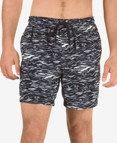 Speedo Men's Printed Swim Trunks - Black 2XL