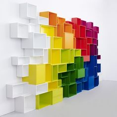 Could go mental and do this... Cubit, modular bookshelf system designed by Mymito Studio.