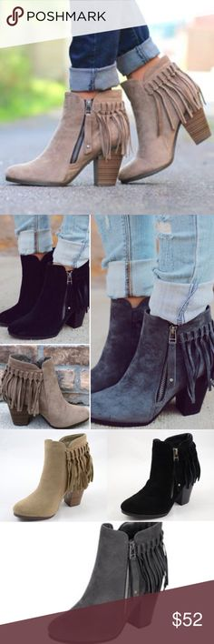 ❤️LAST❤️ Beige Black Gray Fall Fringe Booties Well hello fall! These fabulous booties are so adorable and look perfect with your mini dresses or your Skinnies! The perfect go to! Super comfy. Faux suede. Fits true to size. Available in 3 colors! VERY COMFY!! Last picture is me wearing my beige booties!! Shoes Ankle Boots & Booties