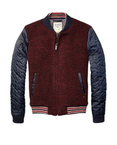 Bouclé Bomber Jacket With Quilted Satin Sleeves - Scotch & Soda